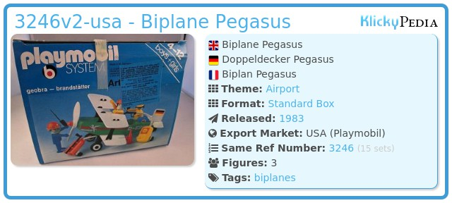 Playmobil 3246v2-usa - Biplane Pegasus