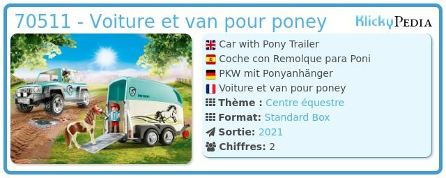Playmobil 70511 - Car with Pony Trailer