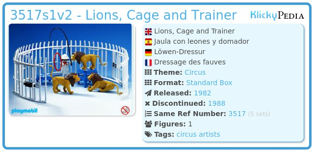 Playmobil 3517s1v2 - Lions, Cage and Trainer