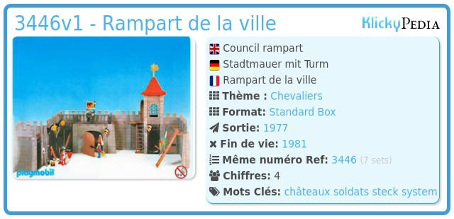 Playmobil 3446v1 - Rampart de la ville