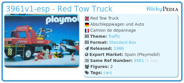Playmobil 3961v1-esp - Red Tow Truck