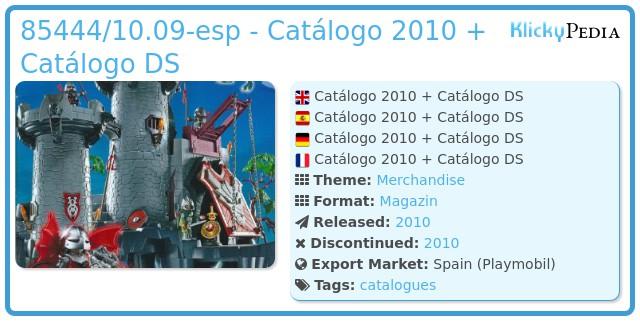 Playmobil 85444/10.09-esp - Catálogo 2010 + Catálogo DS