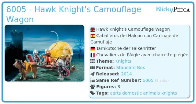 PLAYMOBIL 6005 Hawk chevaliers avec camouflage Wagon