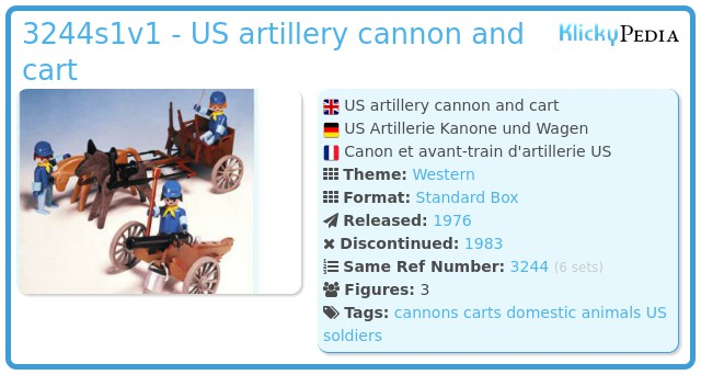Playmobil 3244s1v1 - US artillery cannon and cart