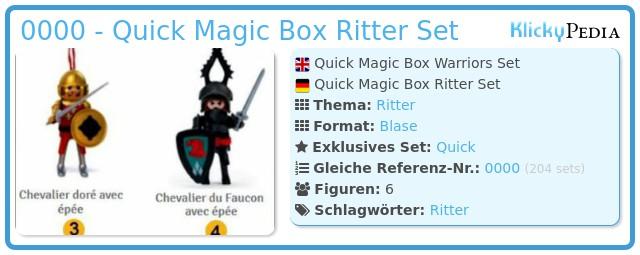 Playmobil 0000 - Quick Magic Box Ritter Set