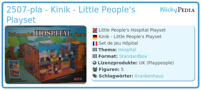 Playmobil 2507-pla - Kinik - Little People's Playset