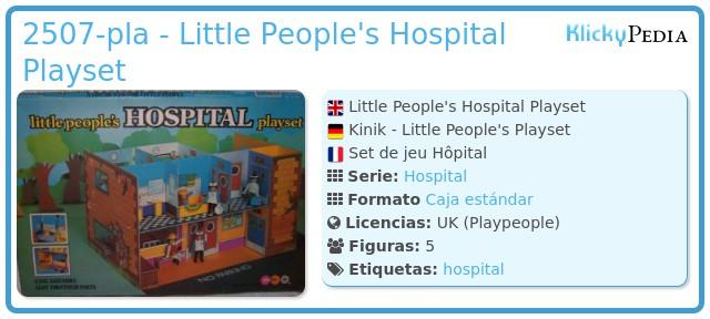Playmobil 2507-pla - Little People's Hospital Playset