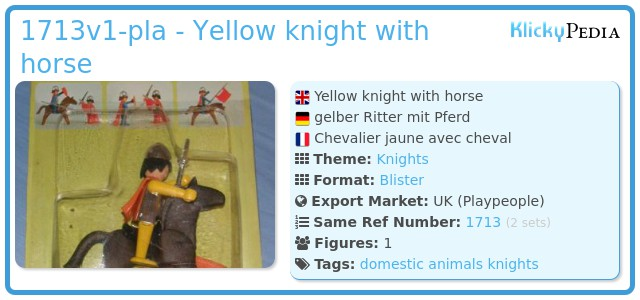 Playmobil 1713v1-pla - Yellow knight with horse