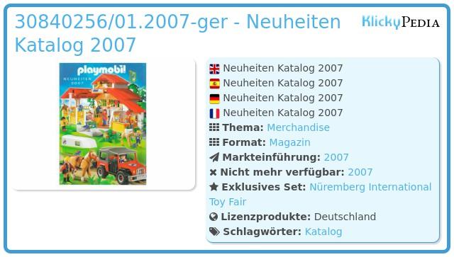 Playmobil 30840256/01.2007-ger - Neuheiten Katalog 2007