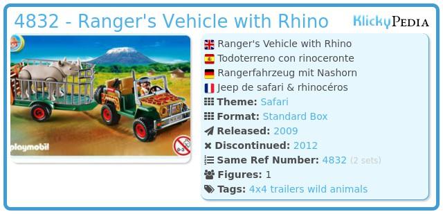 Playmobil 4832 - Ranger's Vehicle with Rhino