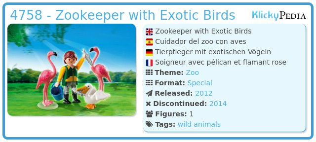 Playmobil 4758 - Zookeeper with Exotic Birds