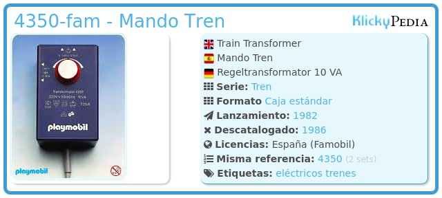 Playmobil 4350-fam - Mando Tren