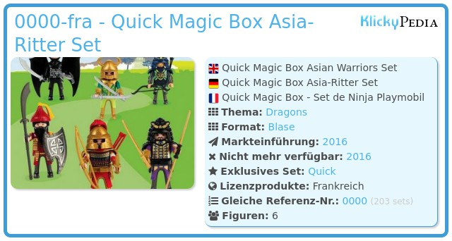 Playmobil 0000-fra - Quick Magic Box Asia-Ritter Set