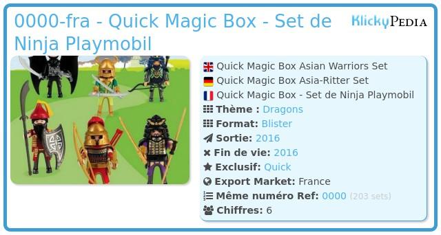 Playmobil 0000-fra - Quick Magic Box - Set de Ninja Playmobil