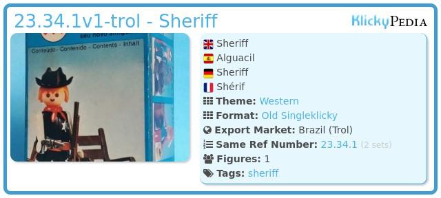 Playmobil 23.34.1 - V1-trol - Sheriff