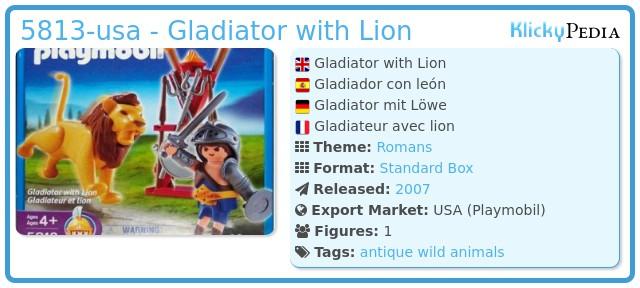 Playmobil 5813-usa - Gladiator with Lion