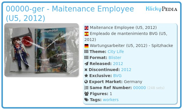 Playmobil 00000-ger - Maitenance Employee (U5, 2012)