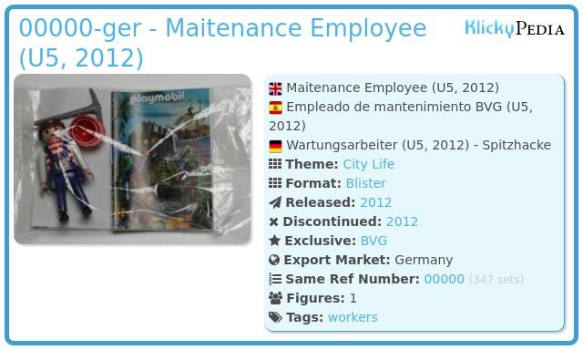 Playmobil 00000-ger - Maitenance Employee (U5, 2012)