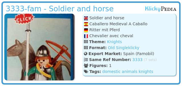 Playmobil 3333-fam - Soldier and horse