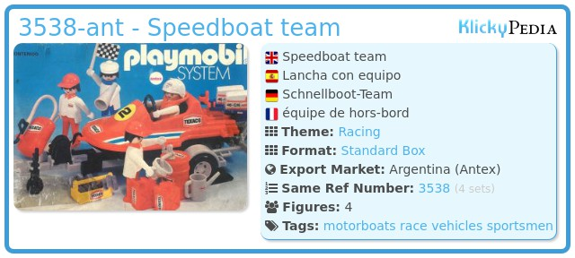 Playmobil 3538-ant - Speedboat team