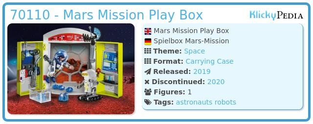 Playmobil 70110 - Mars Mission Play Box