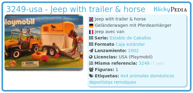 Playmobil 3249-usa - Jeep with trailer & horse