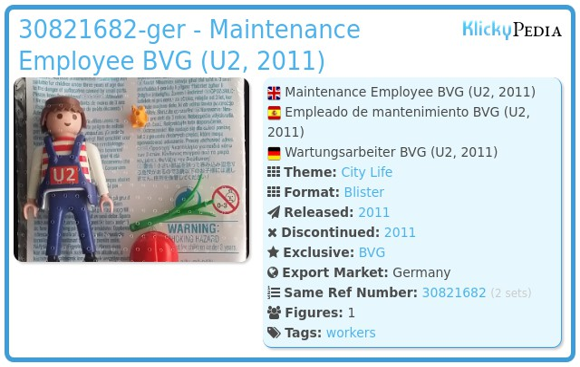 Playmobil 30821682-ger - Maintenance Employee BVG (U2, 2011)