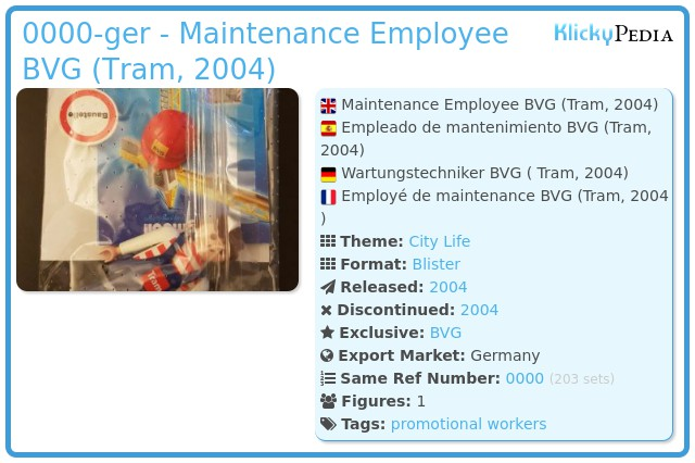 Playmobil 0000-ger - Maintenance Employee BVG (Tram, 2004)