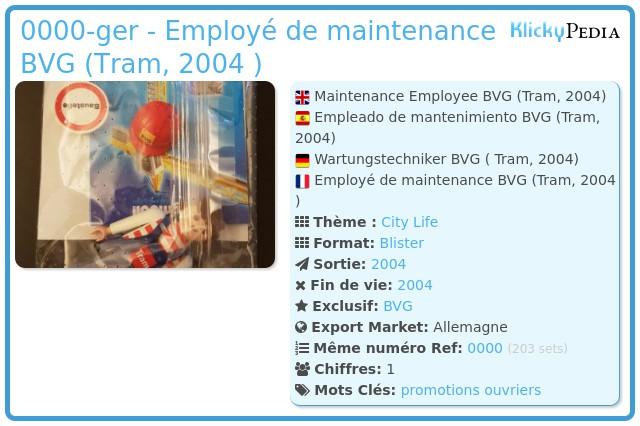 Playmobil 0000-ger - Employé de maintenance BVG (Tram, 2004 )