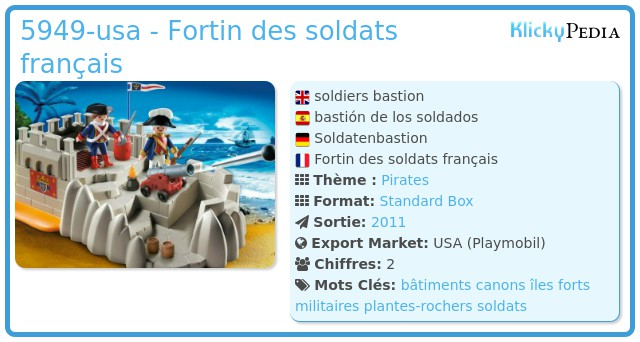 Playmobil 5949-usa - Fortin des soldats français