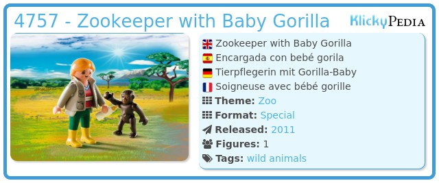 Playmobil 4757 - Zookeeper with Baby Gorilla