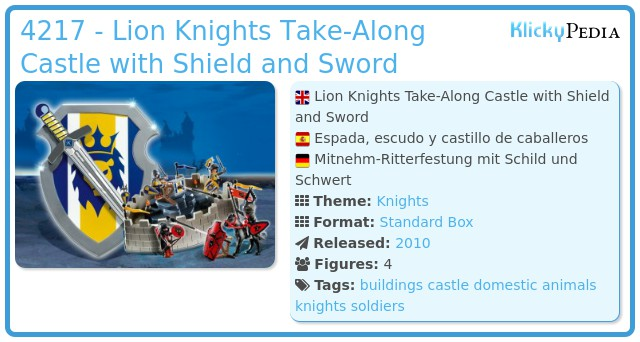 Playmobil 4217 - Lion Knights Take-Along Castle with Shield and Sword