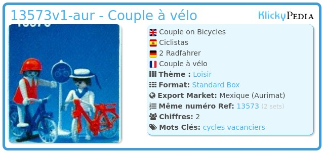Playmobil 13573v1-aur - Couple à vélo