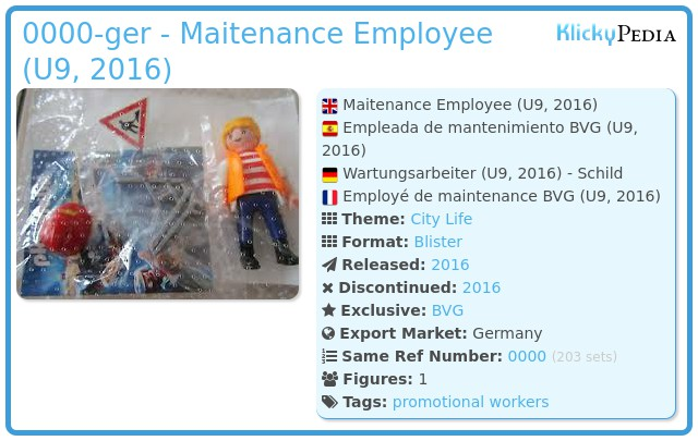 Playmobil 0000-ger - Maitenance Employee (U9, 2016)