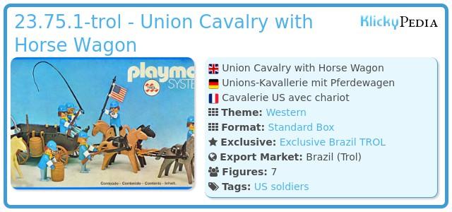 Playmobil 23.75.1-trol - Union Cavalry with Horse Wagon
