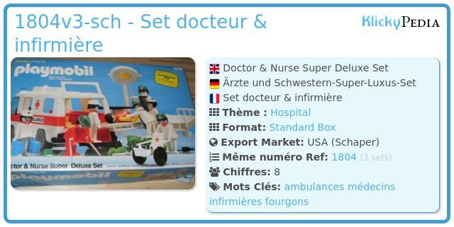 Playmobil 1804v2-sch - Set docteur & infirmière