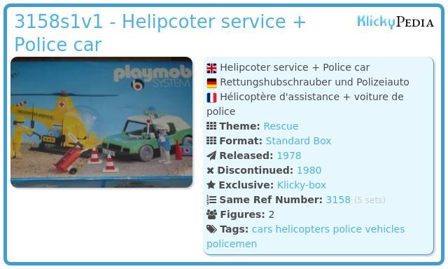 Playmobil 3158s1v1 - Helipcoter service + Police car