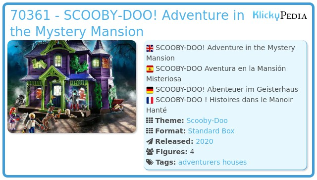 Playmobil 70361 - SCOOBY-DOO! Adventure in the Mystery Mansion