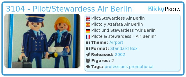Playmobil 3104 - Pilot/Stewardess Air Berlin