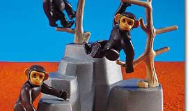Playmobil - 7095 - 3 Chimpanzees With Rock Form