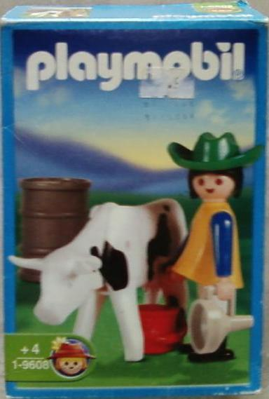 Playmobil 9608-ant - Farm Girl And Cow - Box