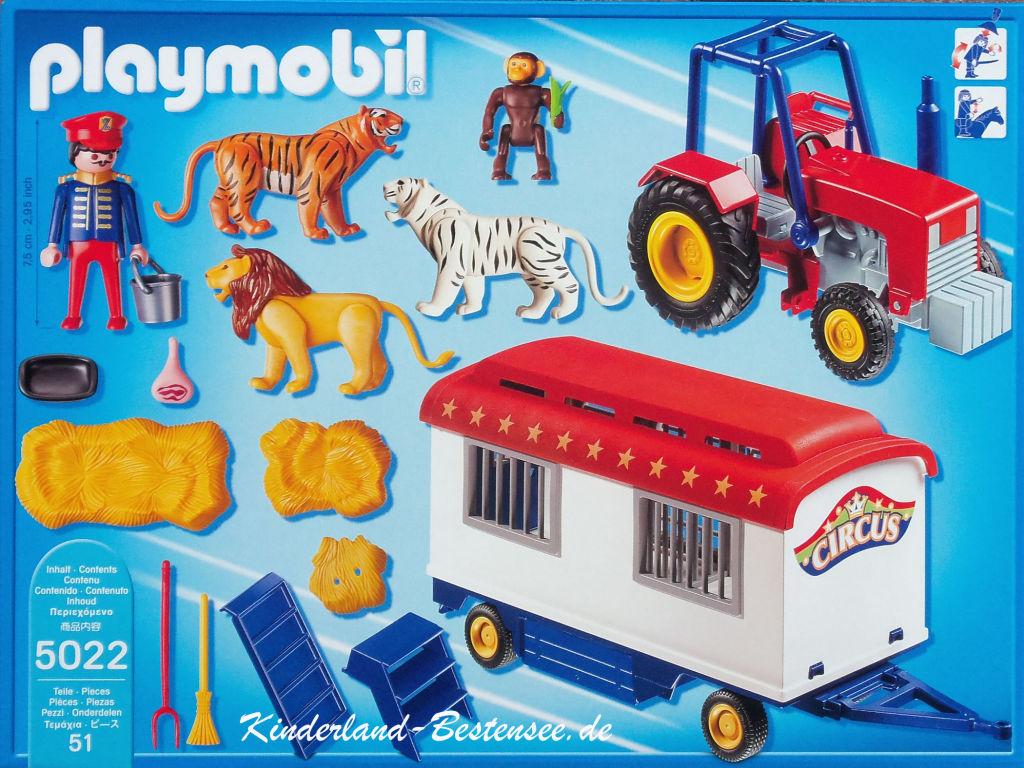 Playmobil 5022-ger - Circus Tractor with Animal Cage Wagon - Zurück