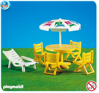 Playmobil set 7072 patio furniture klickypedia for Table playmobil