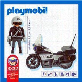 Playmobil 3332-usa - Police Cycle - U.S. - Back