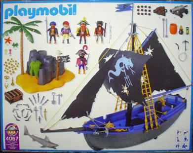 Playmobil 4067-ger - Black corsair schooner with island - Back