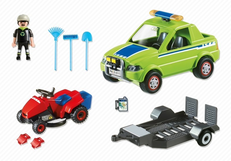 Playmobil 6111 - Pick-up with lawnmower - Back