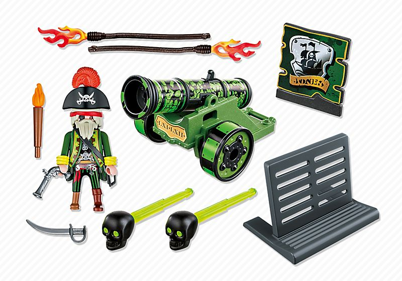 Playmobil 6162 - green cannon with pirate captain - Back