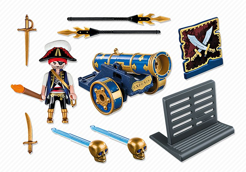 Playmobil 6164 - blue cannon with pirate officer - Back