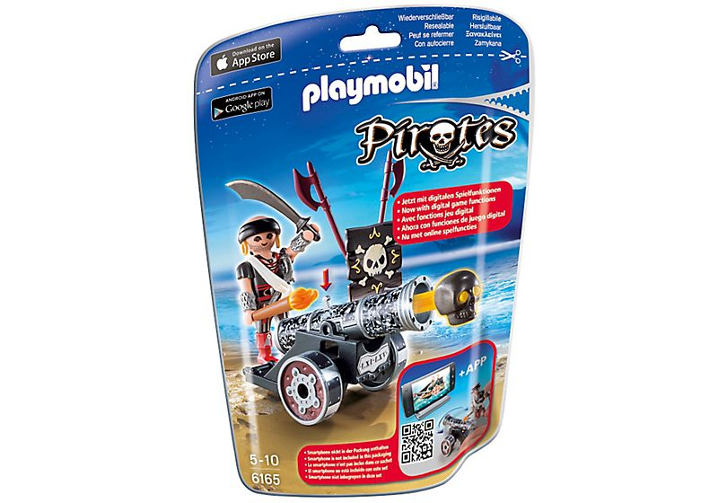 Playmobil 6165 - Black Interactive Cannon with Raider - Box