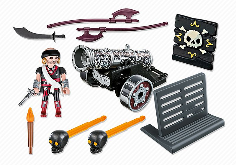 Playmobil 6165 - Black Interactive Cannon with Raider - Back